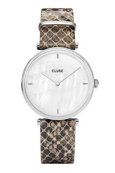 Cluse Triomphe Silver White Pearl/Green Python Watch CL61009