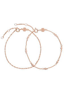 Cluse Essentielle Rose Gold Set of Two Twisted Hexagon Chain Bracelets CLJ10019