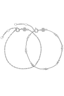Cluse Essentielle Silver Set of Two Twisted Hexagon Chain Bracelets CLJ12019