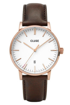 Cluse Mens Aravis Rose Gold White/Dark Brown Leather Watch CW0101501002