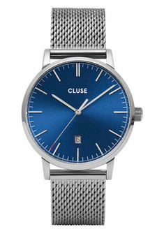 Cluse Mens Aravis Silver Dark Blue/Silver Mesh Watch CW0101501004