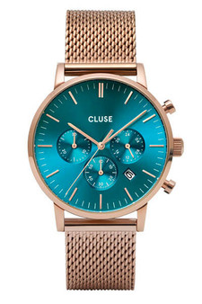 CLUSE Mens Aravis Chronograph Rose Gold Ocean Blue/Rose Gold Mesh Watch CW0101502005
