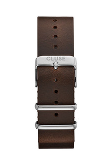 Cluse 20mm Nato Watch Strap Silver/Dark Brown CS1408101069