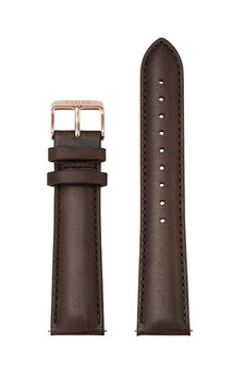 Cluse 20mm Leather Watch Strap Rose Gold/Dark Brown CS1408101066