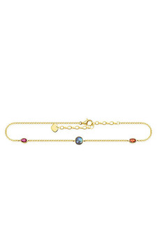 Thomas Sabo Ankle Chain Colourful Stones, Gold TAK0020Y