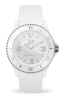 Ice Crystal White Silver Smooth Medium 3H Watch 17246