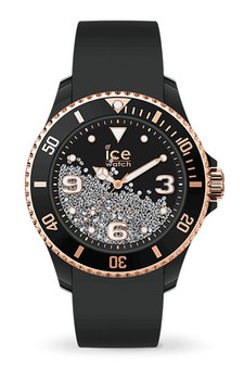 Ice Crystal Black Rose Gold Smooth Medium 3H Watch 17249