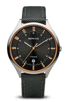 Bering Titanium Brushed Silver Black Watch 11739-879