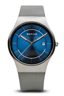 Bering Classic Brushed Silver Blue Watch 11938-003