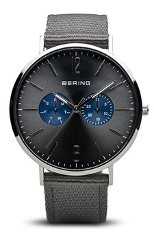 Bering Classic Polished Silver Black Watch 14240-803