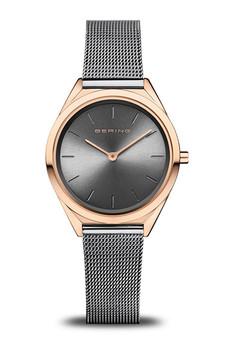Bering Ultra Slim Polished Rose Gold Grey Mesh Watch 17031-369