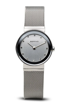 Bering Classic Polished Silver Mesh Swarovski Watch 10126-000
