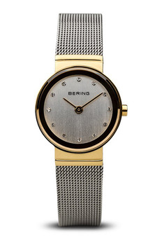 Bering Classic Polished Gold Silver Mesh Watch 10126-001