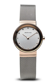 Bering Classic Polished Rose Gold Silver Mesh Watch 10126-066