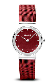 Bering Classic Polished Silver Red Mesh Watch 10126-303