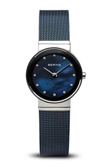 Bering Classic Polished Silver Blue Mesh Watch 10126-307