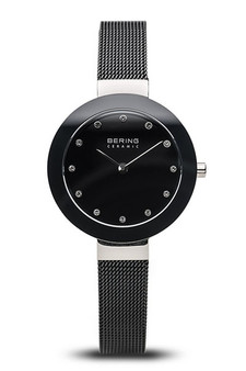 Bering Ceramic Polished Silver Slim Black Watch 11429-102