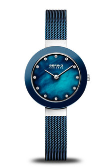 Bering Ceramic Polished Silver Blue Pearl Watch 11429-387