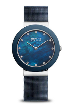 Bering Ceramic Polished Silver Arctic Blue Watch 11435-387