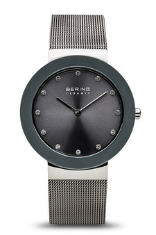Bering Ceramic Polished Silver Grey Watch 11435-389