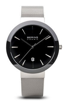Bering Ceramic Polished Silver Black Watch 11440-042