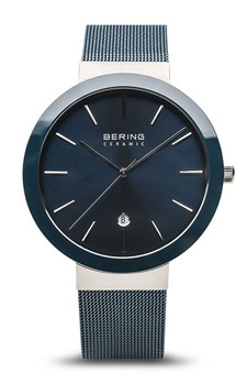 Bering Ceramic Polished Silver Navy Blue Watch 11440-387