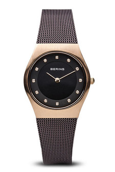 Bering Classic Brushed Gold Brown Mesh Watch 11927-262