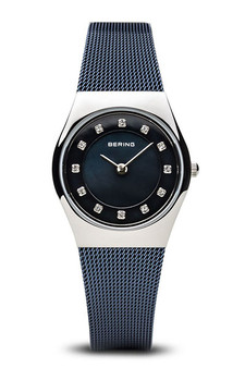 Bering Classic Polished Silver Navy Blue Mesh Watch 11927-307