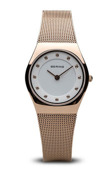Bering Classic Polished Rose Gold Mesh Watch 11927-366