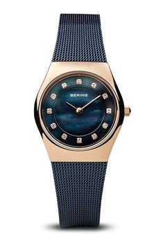 Bering Classic Polished Rose Gold Navy Blue Watch 11927-367