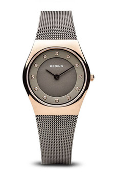 Bering Classic Polished Rose Gold Grey Mesh Watch 11927-369