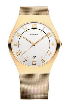 Bering Classic Polished Gold Mesh 37mm Watch 11937-334