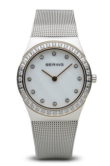 Bering Classic Polished Silver Swarovski Watch 12430-010