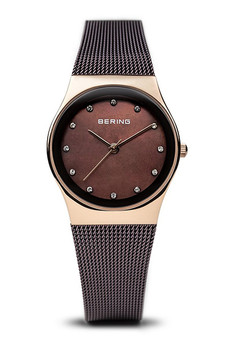 Bering Classic Polished Rose Gold Brown Milanese Mesh Watch 12927-262
