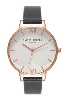 Olivia Burton Big Dial White Dial Black Leather Watch OB16BDW09