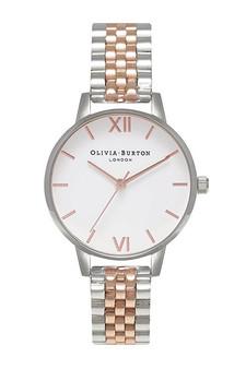 Olivia Burton White Dial Rose Gold Two Tone Bracelet Watch OB16MDW25