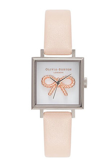 Olivia Burton Vintage Bow Silver Peach Watch OB16VB02