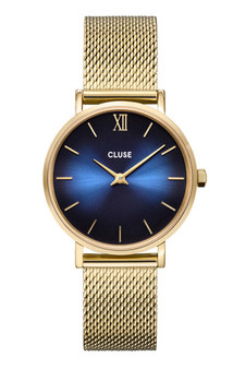 Cluse Minuit Gold Midnight Deep Blue/Gold Mesh Watch CW10202