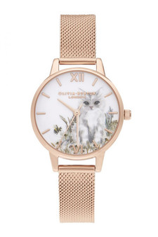 Olivia Burton Illustrated Animals Rose Gold Mesh Watch OB16WL76