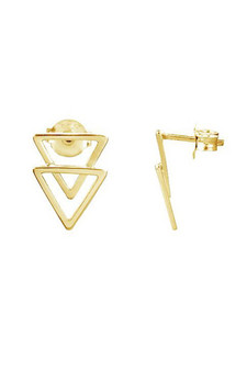 Ichu Double Triangle Stud Earrings Gold JP5307G