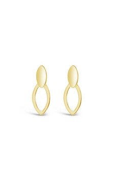 Ichu Double Oval Earrings Gold JP7007G