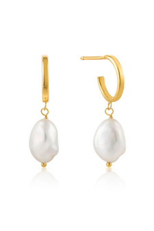 Ania Haie Pearl Mini Hoop Earrings E019-02G