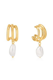 Ania Haie Pearl Triple Mini Hoop Earrings E019-04G
