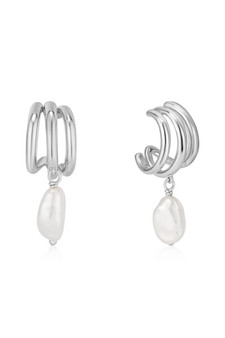 Ania Haie Pearl Triple Mini Hoop Earrings E019-04H