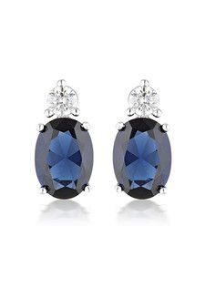 Georgini Aurora Australis Earrings Silver/Sapphire IE978B