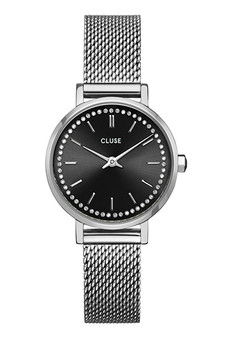 Cluse Boho Chic Petite Black Crystals/Silver Mesh Watch CW10502