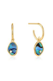 Ania Haie Gold Tidal Abalone Mini Hoop Earrings E027-01G