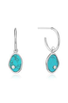 Ania Haie Silver Tidal Turquoise Mini Hoop Earrings E027-01H