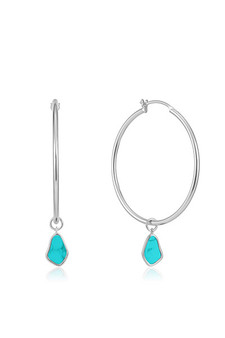 Ania Haie Silver Tidal Turquoise Drop Hoop Earrings E027-05H