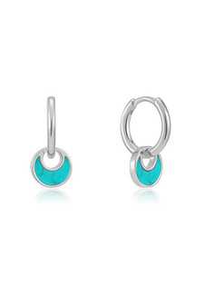 Ania Haie Silver Tidal Turquoise Crescent Huggie Hoops E027-06H